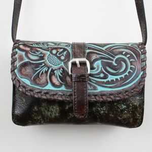 Patricia Nash Tooled Turquoise Torri Crossbody Bag